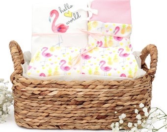 Flamingo Theme - Organic Baby Girl Gift Bundle