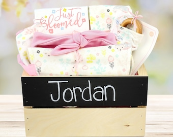 Just Bloomed Theme-Personalized Baby Girl Organic Gift Bundle