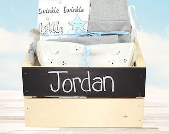 Twinkle Twinkle Star Theme - Personalized Baby Boy Organic Gift Bundle