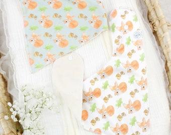 Orgabic Baby Bandana Bibs - Sleepy Fox Theme