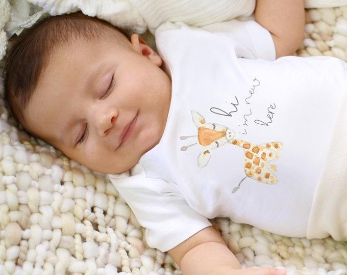 Featured listing image: Baby Giraffe  - Organic Baby Bodysuit