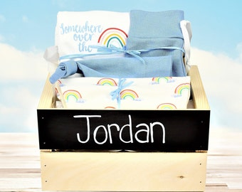 Rainbow Theme - Personalized Baby Boy Organic Gift Bundle