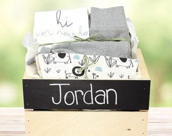 Safari Friends Theme - Personalized Baby Organic Gift Bundle
