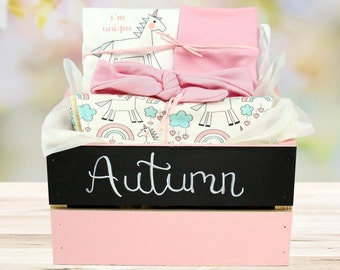 Unicorn Theme - Personalized Baby Girl Organic Gift Bundle