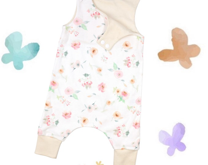 Featured listing image: Spring Floral Watercolor - Organic Baby Romper