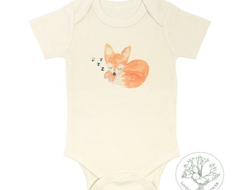 Sleepy Baby Fox  - Organic Baby Bodysuit