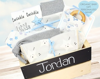 Lullaby Star Theme - Personalized Baby Boy Organic Gift Bundle