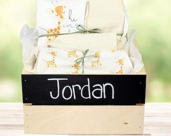 Baby Giraffe Theme - Personalized Organic Baby Gift Bundle