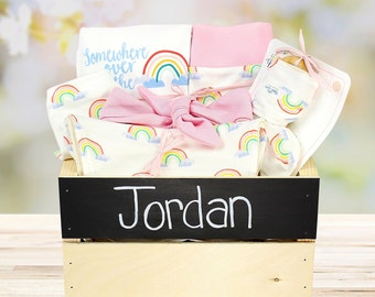 Rainbow Theme - Personalized Baby Girl Organic Gift Bundle