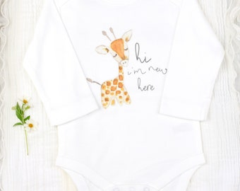 Organic Baby Bodysuit, Safari Baby Onesie, Giraffe Baby Bodysuit, Newborn Baby Bodysuit, Gender Neutral Baby Clothes,Coming Home Baby Onesie