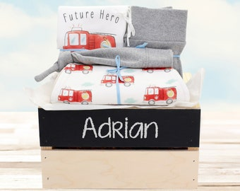 Fire Truck Theme - Personalized Baby Boy Organic Gift Bundle