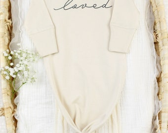 """Loved"" Knot Gown - Organic Baby Apparel"