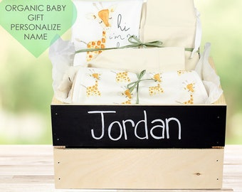 Baby Giraffe Theme - Personalized Baby Organic Gift Bundle