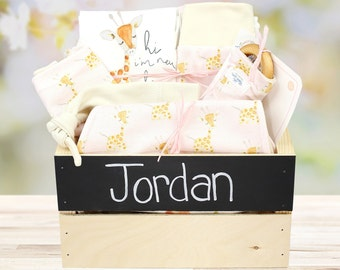 Giraffe Pink Theme - Personalized Baby Girl Organic Gift Bundle