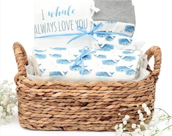 Whale Theme - Organic Baby Boy Gift Bundle