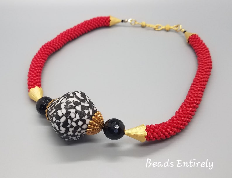 Red Beaded Crochet and Black White Krobo Beads Necklace image 0