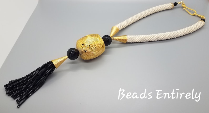 Cream Black and Gold Beaded Crochet Tassel Statement Necklace image 0
