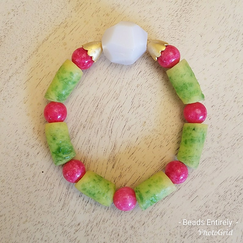 Green Pink and White Trade Beads Stretch Bracelets image 0