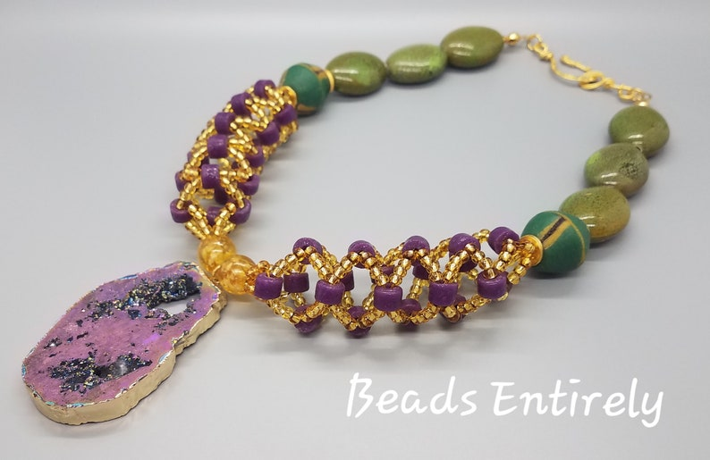 Reversible Green Purple and Gold Woven Statement Necklace image 0