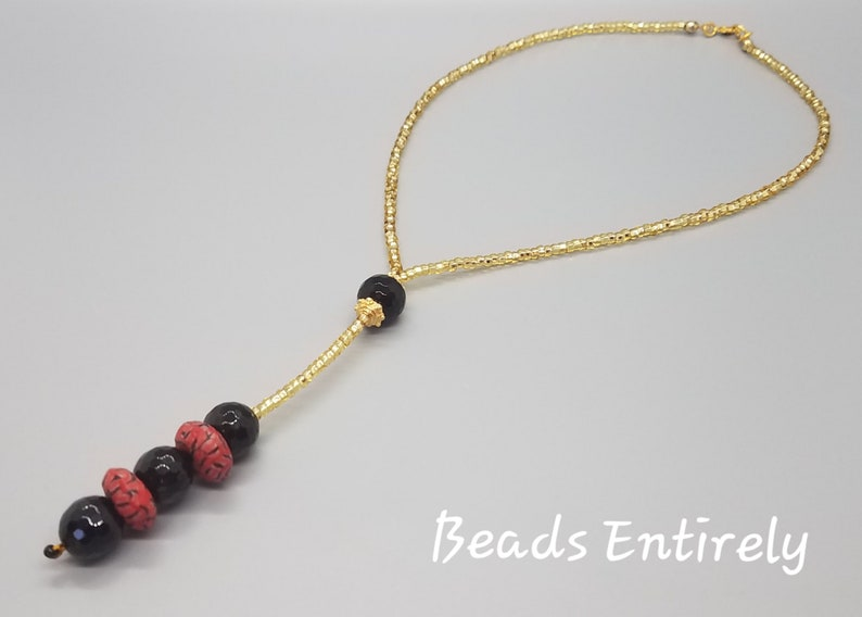Black Onyx and Black Red Krobo beads dainty necklace image 0