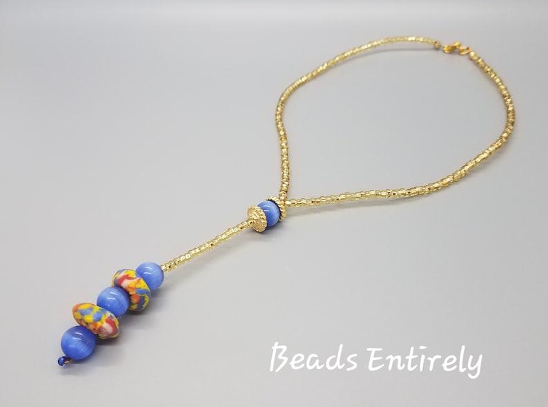 Light Blue and Multi Krobo beads dainty necklace image 0