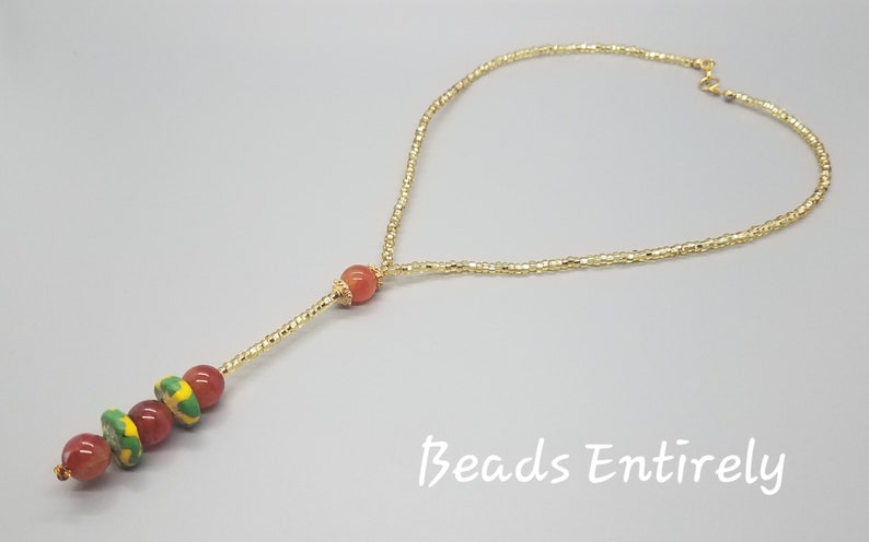 Burnt Orange and Green Multi Krobo beads dainty necklace image 0
