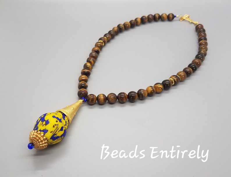 Tiger Eye and Blue Yellow Krobo Beads Pendant Necklace image 0