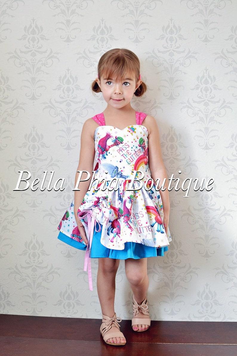 Ready to ship sz 6-9m White Trolls Poppy Dress