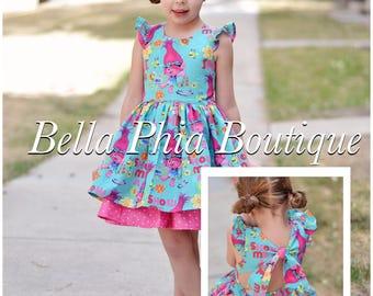 Girls Trolls Dress - Poppy Dress - Trolls Birthday - Birthday Dress - Swallowtail Dress