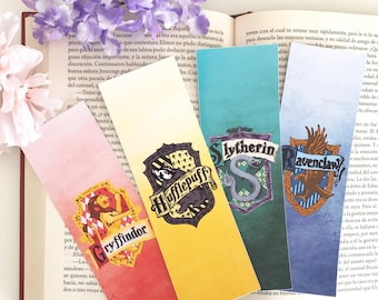Wizard Houses bookmark, Watercolor Bookmarks - Laminated bookmarks