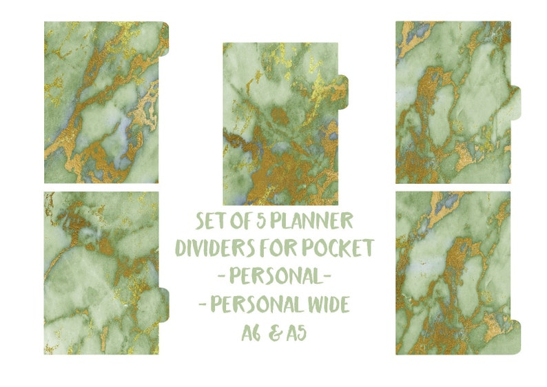 Light  green Marble laminated dividers Marble Personal Wide Gold foil 300 Green Marble Planner dividers A5 Pocket A6 Personal