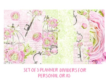 Set of 5 Planner Dividers for Personal or A5 size. Planner Accessories, Planner Decorations, Filofax, Planners, Kikki k. Floral, Key - 042