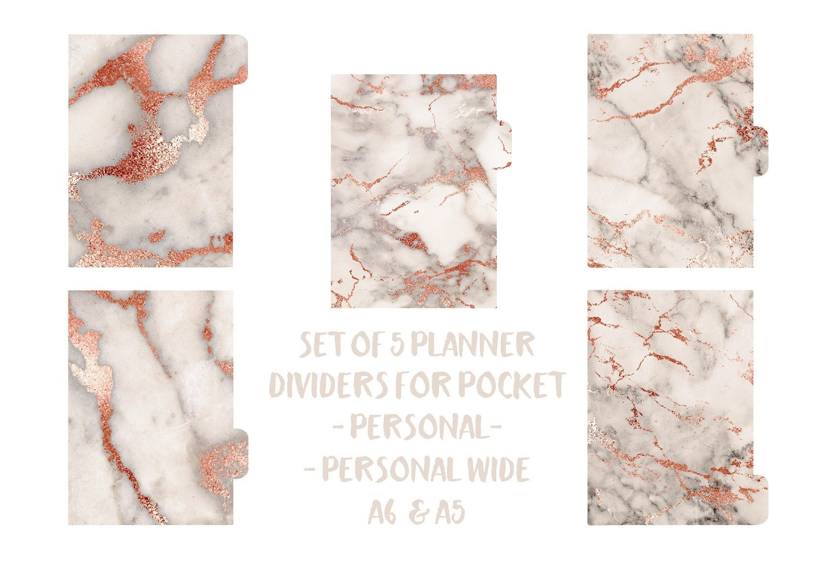 Rose Gold Marble Planner dividers, Personal, A5, Pocket ...