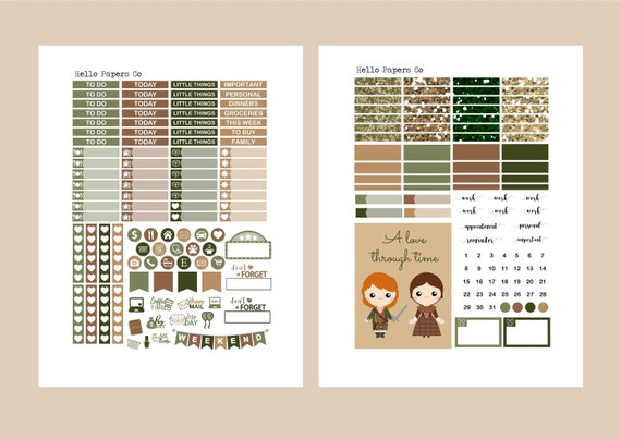001 Vertical Erin Condren Kit Outlander Stickers Claire Fraser Jamie Fraser Outlander Weekly Kit Planner Stickers Outlander Wedding