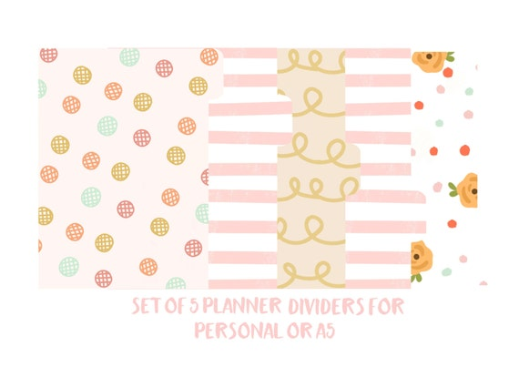 Planner dividers / a5 dividers / personal dividers / planner divider set / A5 / personal / filofax dividers /Floral, Stripes, Polka Dots-210
