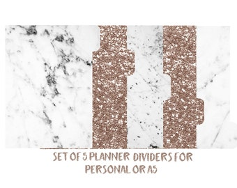 Set of 5 Laminated Planner Dividers for A5, Personal, Personal Wide, Pocket and A6 Sized, 6 Ring Planners. Marble, Rose Gold, Glitter-197