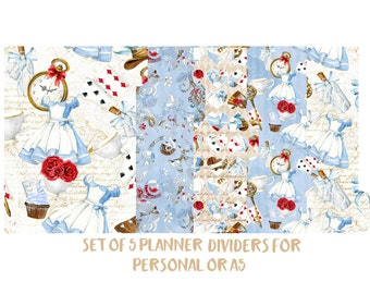 Set of 5 Planner Dividers for Personal or A5 size. Planner Accessories,Planner Decorations,Filofax,Planners,Kikki k. Alice in Wonderland-106