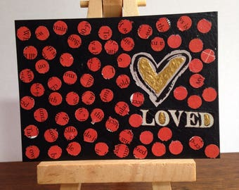 Its Good to be Loved ACEO Original Mixed Media Art collectible artist trading cards