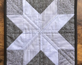 Eight-Point Star Monochrome Silver Gray and White Quilt Wall Art piece Handmade