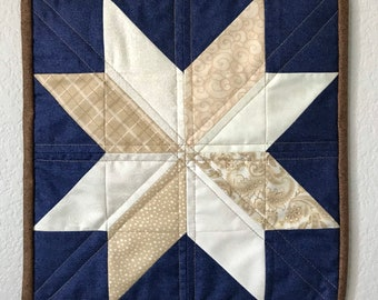 Eight-Point Star Neutral Americana Quilt Wall Art piece Handmade