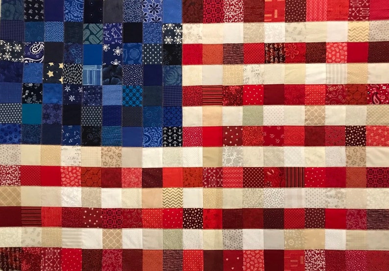 8ab3dbf55 American Patchwork Flag Quilt Patriotic blanket American | Etsy