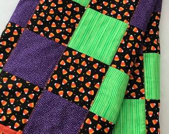 Perfect Halloween accent Candy Corn lap quilt Kids blanket Handmade, 100% cotton.
