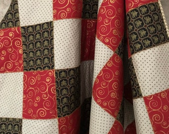Christmas Quilt with gold accents, lap quilt, accent blanket