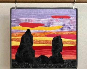 California Coastline Ocean Sunset Fiber Art Landscape Quilt, applique wall art