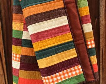 Autumn colors Scrappy Quilt - oversized lap quilt