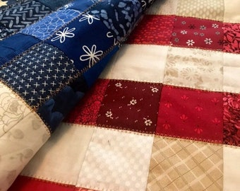 Made-to-order American Patchwork Flag Quilt, Patriotic blanket, American flag decor, red white and blue, stars and stripes, Americana