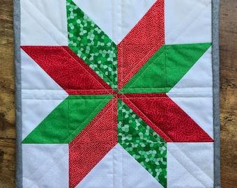 Eight-Point Star Christmas Quilt Wall Art piece Handmade