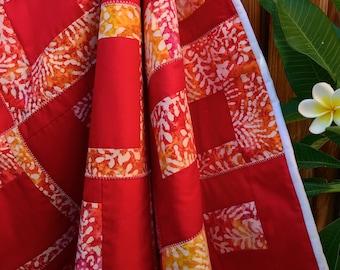 Hawaiian style Batiks Lap Quilt, colorful accent quilt