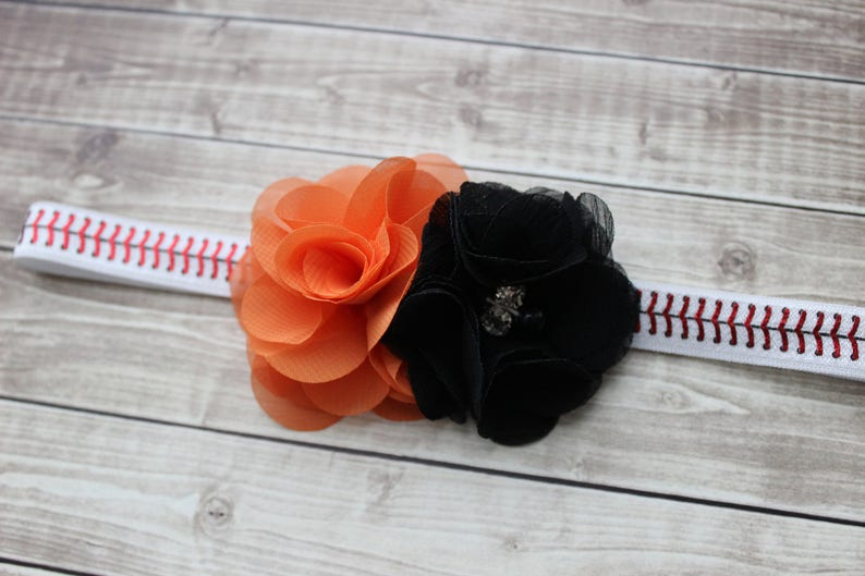 Giants inspired baby headband Baltimore Orioles baby orange and black baseball bow San Francisco Giants baby gift