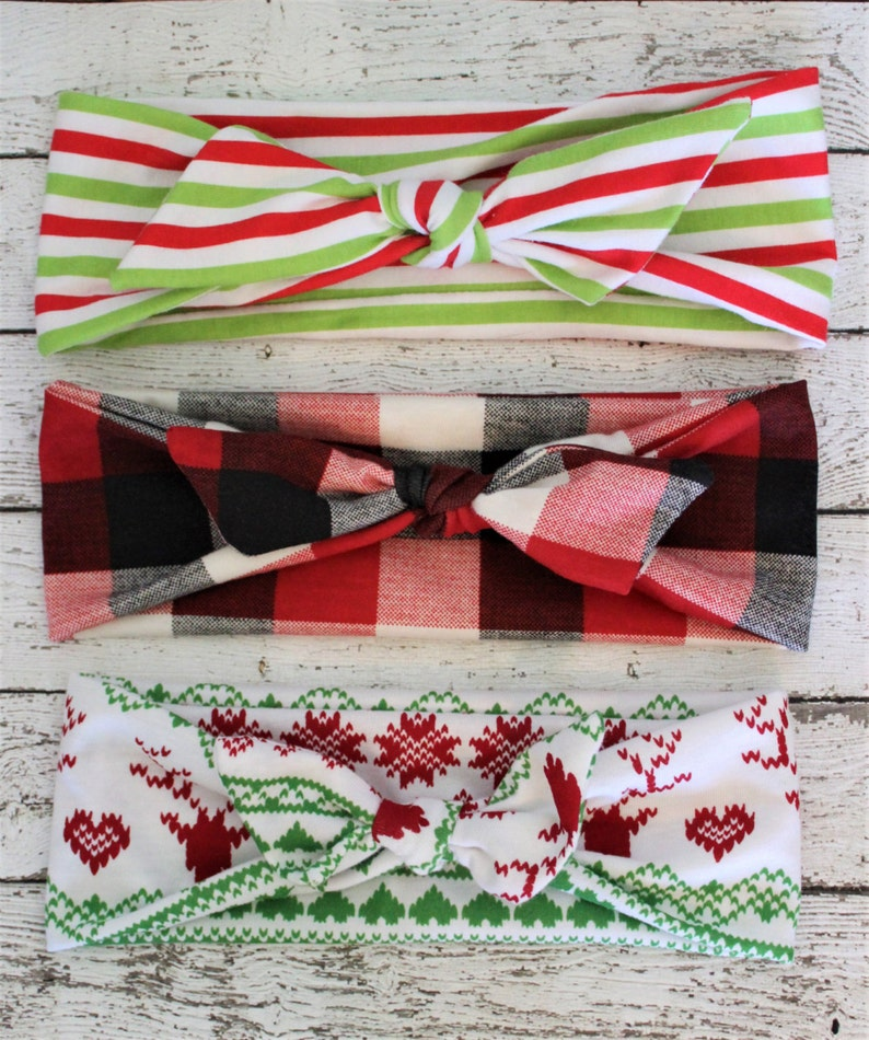 top knot baby bow red and green Set of 3 Christmas print baby headbands Holiday baby girl headbands